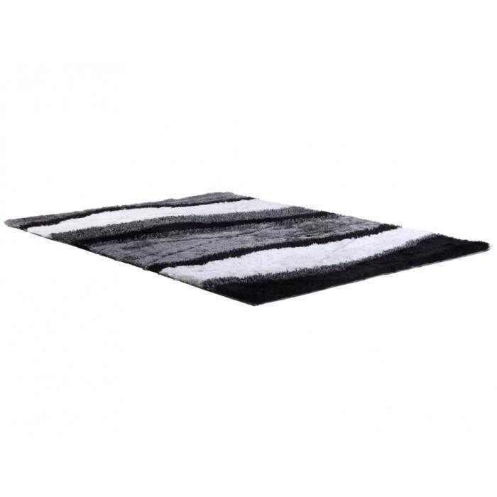 tapis shaggy noir et blanc achat vente tapis shaggy. Black Bedroom Furniture Sets. Home Design Ideas