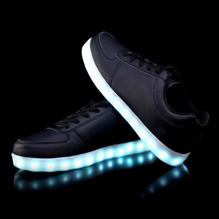 Chaussure LED Lumineuse 7 Couleur Unisexe Homme Femme USB Charge LED Chaussures clignotante Basket KIANII® Noir