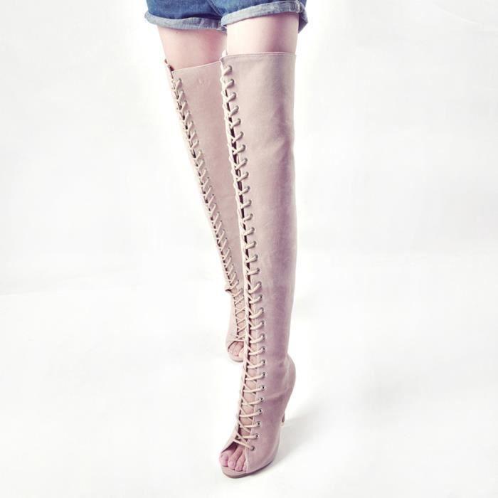 Femmes de mode haut au-dessus des bottes de genou sexy chaussures longues de botte de poissons
