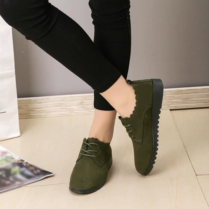 Court Dames Femme Lace Plat Mode Up Suede Cheville Vert Casual Pour Chaussures Bottes HOaEw