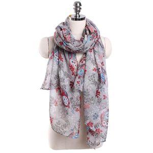 65abfb603db exquisgift®mode écharpe Femmes hibou feuilles motif d impression long  écharpe chaud châle populaire~WSS11225041