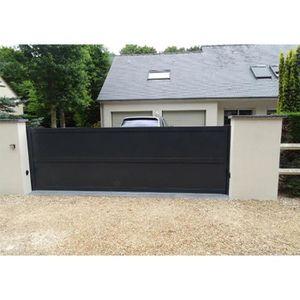portail aluminium coulissant droit plein design e nao l 3 m x h 1 6 m achat vente portail. Black Bedroom Furniture Sets. Home Design Ideas