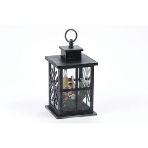 LANTERNE FANTAISIE Lanterne déco noire avec 3 bougies LED en PVC - H