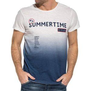 5b0d163fdb5613 T-SHIRT Tee-shirt homme blanc dégradé bleu imprimé summer