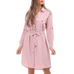 ROBE Robe chemise rose avec détail strass