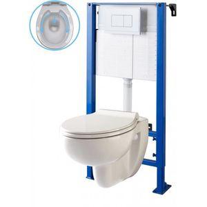 WC - TOILETTES Pack wc suspendu bâti wc autoportant NF et cuvette