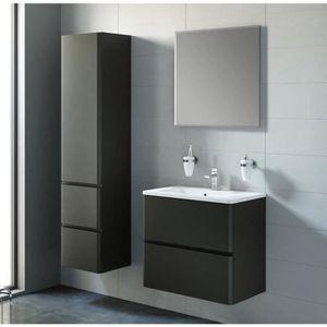 Meuble salle de bain noir achat vente meuble salle de for Colonne de salle de bain noir laque