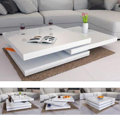 Table basse de salon blanc moderne 80x80cm laquée brillante rotative ...
