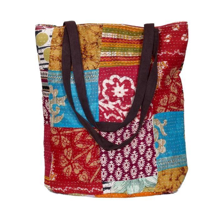 femmes vintage coton kantha travail toile poignée sacs à bandoulière à la main H1W8I