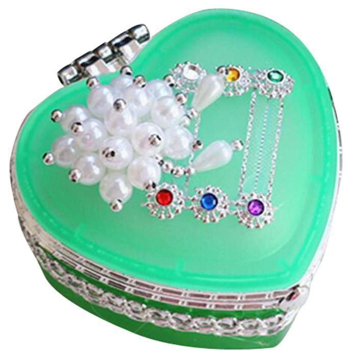 Bijoux en verre en forme de coeur-cas Dressing Box enfants Jewel Box vert