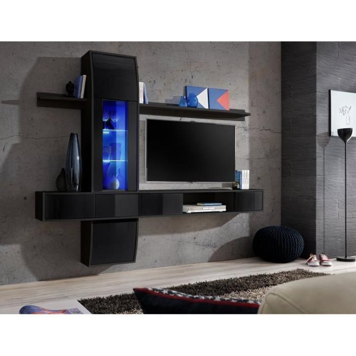 ensemble tv mural comet ii noir achat vente living. Black Bedroom Furniture Sets. Home Design Ideas