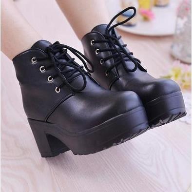 Chaussures à talons hauts de plate-forme avec des bottes épaisses muffin avec des bottes, noir 36