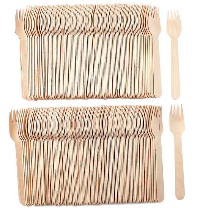 200x fourchettes jetable en bois vaisselle couvert f te anniversaire buffet mariage camping. Black Bedroom Furniture Sets. Home Design Ideas