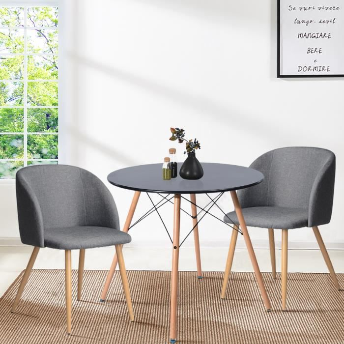 Ensemble Table Chaises 4 Places Scandinave Blanche Table Et Lot De 2 Gris Chaise
