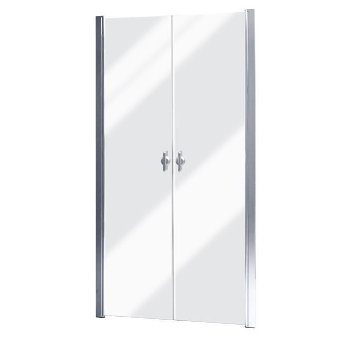Porte De Douche Battante Verre Securit Transparent 80cm Pour Salle