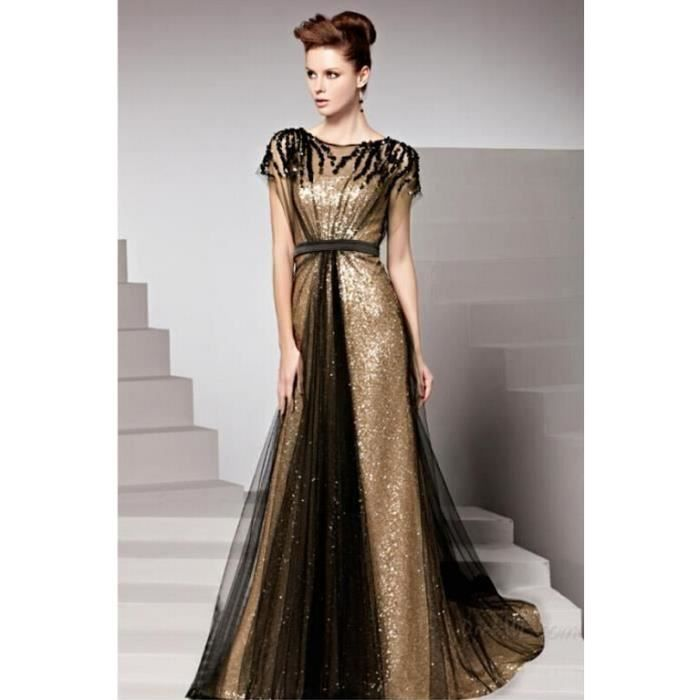 longue robe de soirée de luxe femmes robe or du soir bouchon robe de soirée  manches 6e4fe2f3019