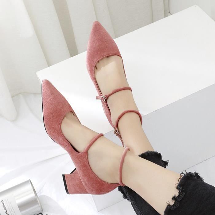 Chaussures Femmes Kid Suede High Heels Escarpins Pointu Toe Gros talon haut Escarpins Automne Lady,noir,35