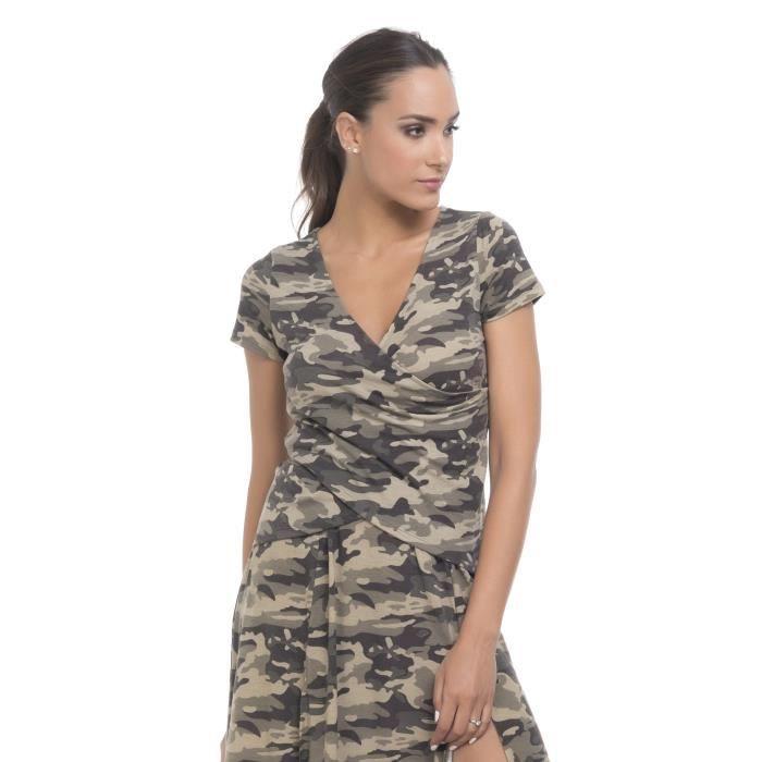 5eada1a66362a TANTRA T-shirt militaire Femme AH18 Kaki - Achat / Vente t-shirt ...