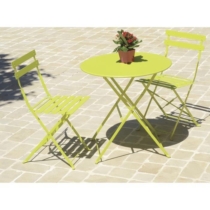 Table de jardin ronde metal - Achat / Vente pas cher
