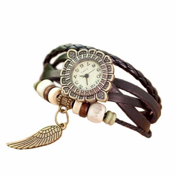 612ed4cae48 Montre bracelet Bijou femme Cuir Coton Femme Marron Basil Rond chiffres  arabes Fermoir invisible