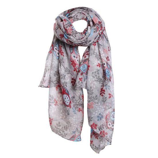 d64e5e89de9 Exquisgift®mode écharpe Femmes hibou feuilles motif d impression long  écharpe chaud châle populaire~WSS11225041 - Achat   Vente echarpe - foulard  ...