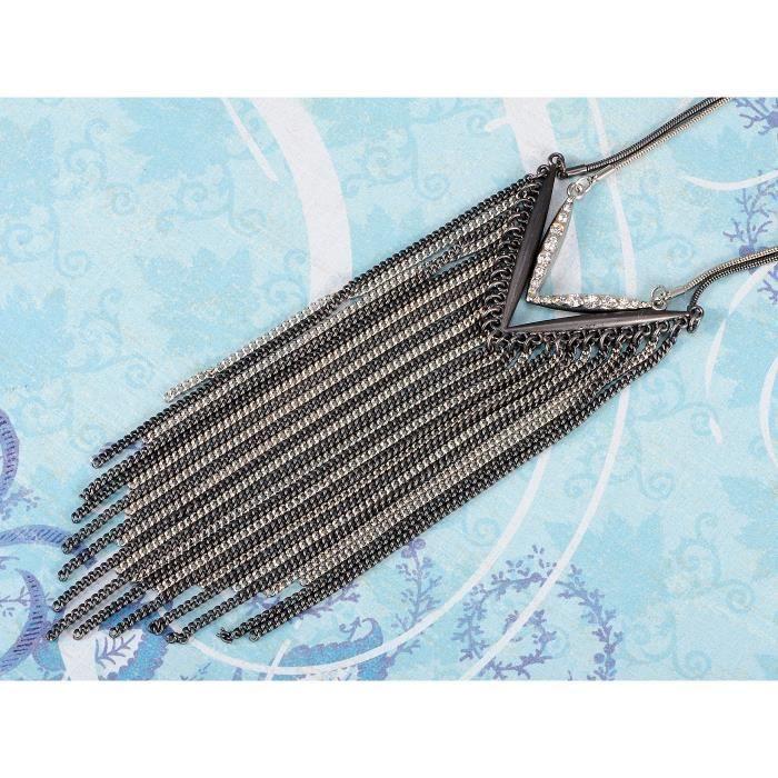 Style contemporain Noir et finitions en métal argenté pendentif Collier Chaîne en alliage