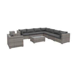 Salon de jardin en resine tressee gris coussin gris - Achat / Vente ...