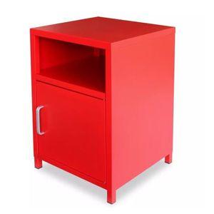 TABLE D'APPOINT Table d'appoint en acier epoxy rouge style industr