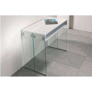 console extensible stef blanche avec pi tement en verre achat vente console console. Black Bedroom Furniture Sets. Home Design Ideas