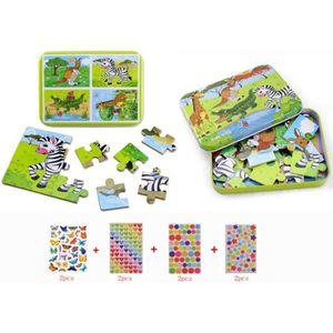 PUZZLE  4pcs Puzzles en Bois + 8pcs Gommettes Enfant , Lo