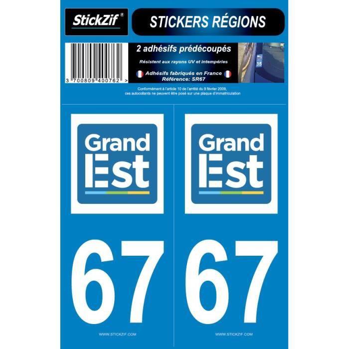 STICKZIF 2 Autocollants Région Département 67 SR67