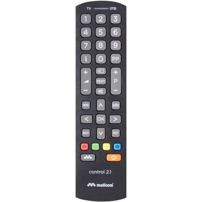 MELICONI 808037 Télécommande Universelle CONTROL 2.1 - 1 TV + 1 décodeur (TNT, SAT,TV ADSL, CÂBLE)