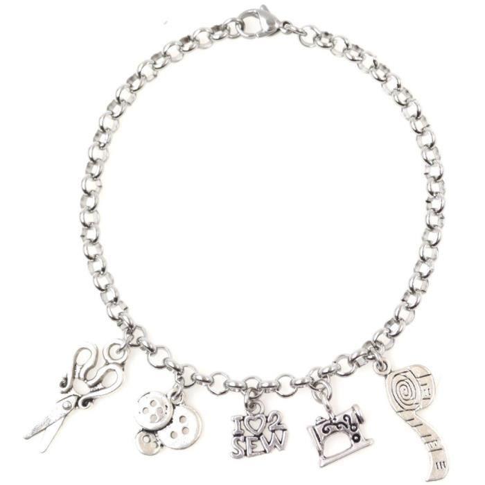 femmes réglables 8,5? bracelet en acier inoxydable jaime coudre les boutons ciseaux ruban à mesurer sewin VBZ7K