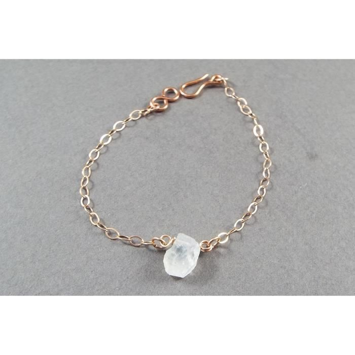 Womens Raw Moonstone Simple Bracelet Rose Gold Filled (small) HU8BB