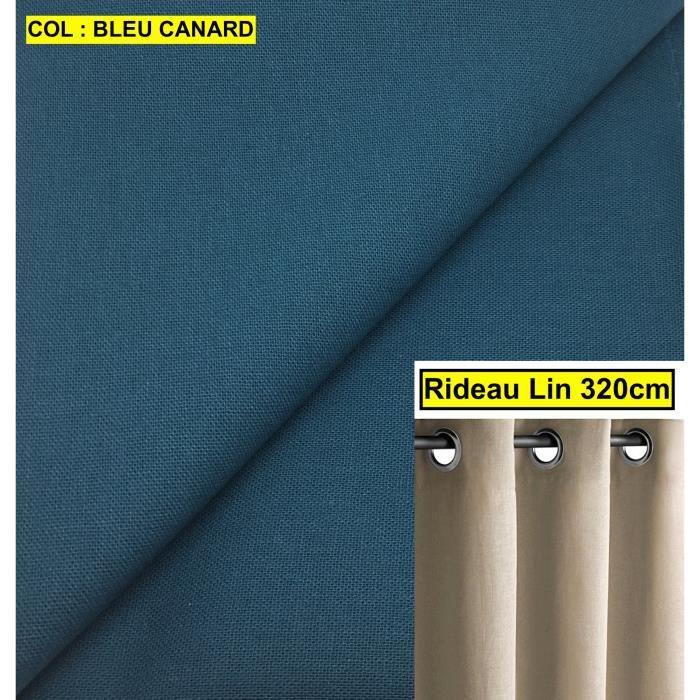 Grand Rideau Lin Naturel Bleu Canard A Oeillets Hauteur 320cm