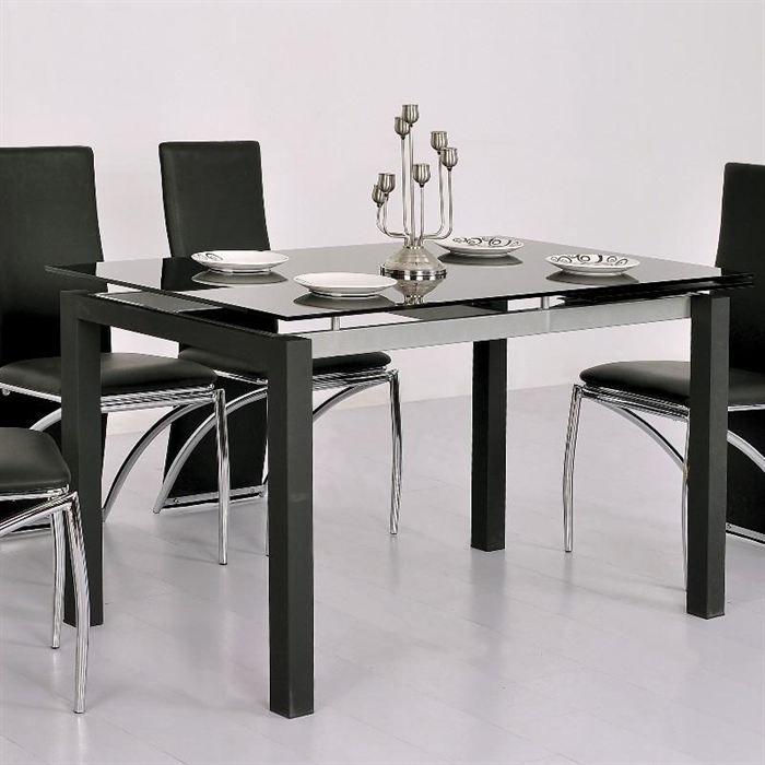 Table En Verre Noire A Rallonge Extensible Waly Achat