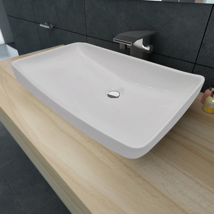 vasque a poser blanche Vasque poser en céramique Rectangulaire Blanche 71 x 39 cm Lavabo Haute  qualité unique moderne