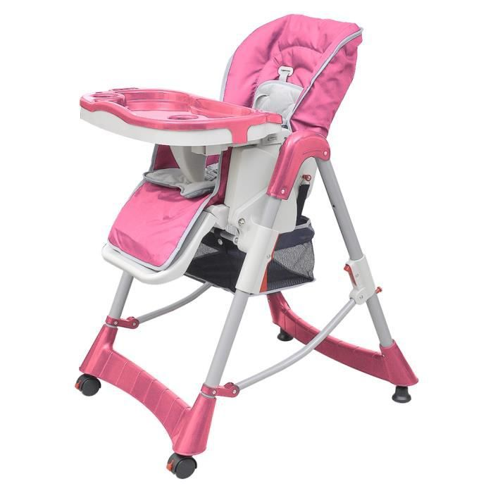 Chaise Haute Pliante Luxe Et Rehausseur Bebe Reglable En Hauteur Avec Plateau Amovible Couleur Rose