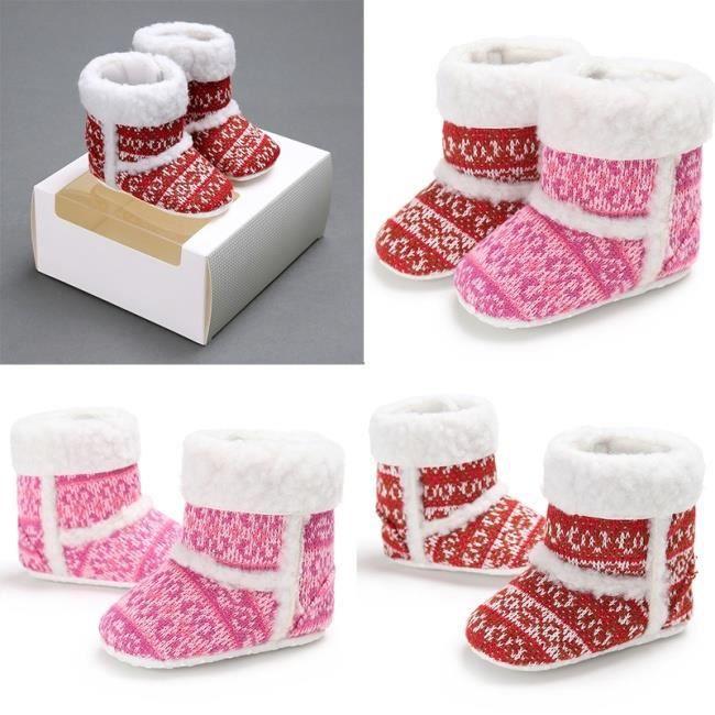 1 Paire d'hiver doux et chaud fon rouge Lrouge L d velours corail Chaussures bébé nouveau-né unisexe Garçons Filles Bottes