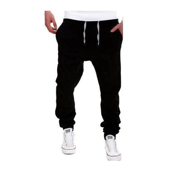 9b025439521 Hommes sport sueur pantalons baggy jogging Training pantalons Noir ...