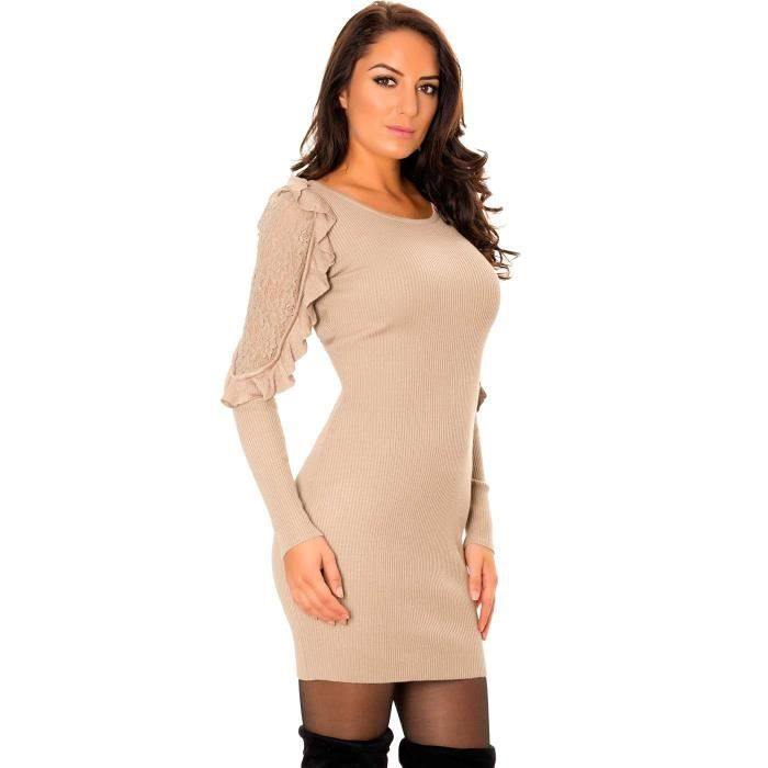 ccfdb1d5fa1 Miss Wear Line - Robe pull taupe avec dentelle et volants aux bras ...