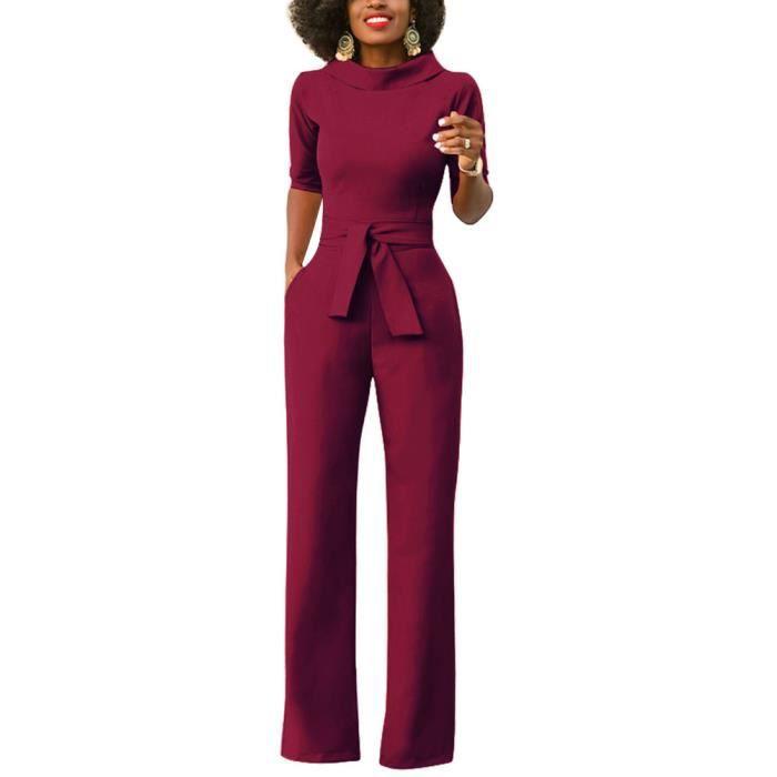 Minetom Femme Chic Rompers Combinaison Col Rond Manches Courtes Jumpsuit  Longue Pantalon avec Ceinture de Soirée a017ca34daf