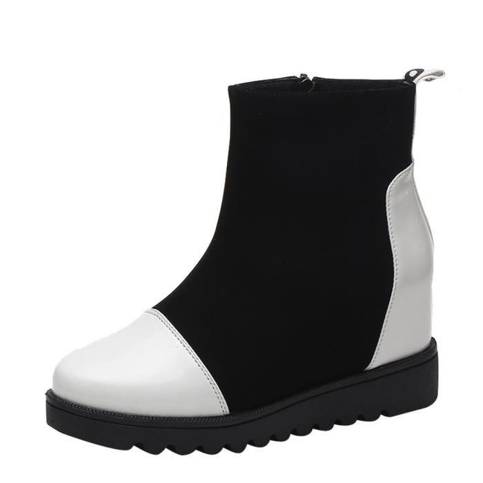 Compensées En 1367 Veberge Solide Cuir Couleur Bottes Zipper Toe Ronde Gardez Chaussures Chaud Femmes Neige XwqTdX