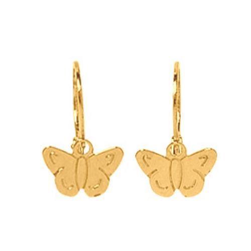 boucles d 39 oreilles dormeuses papillon or jaune 750 achat vente boucle d 39 oreille so chic. Black Bedroom Furniture Sets. Home Design Ideas