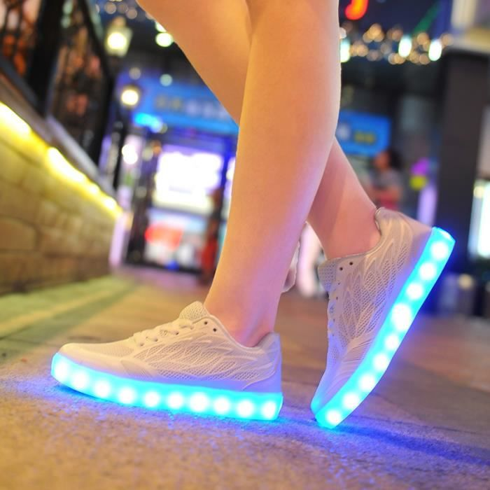 Chargeable 7 Couleur chaussu LED USB chaussures xqgw87Iq