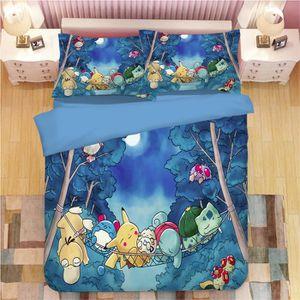 HOUSSE DE COUETTE ET TAIES Pokémon parodique Pikachu Parure de lit 3 pièces d