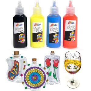 PEINTURE VERRE-VITRAIL Peintures  sur verre ,set de 5 couleurs,