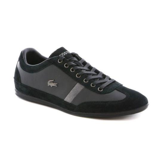 a2f94025ea Chaussure Lacoste Misano 22 en cuir Noir Noir - Achat / Vente basket -  Cdiscount