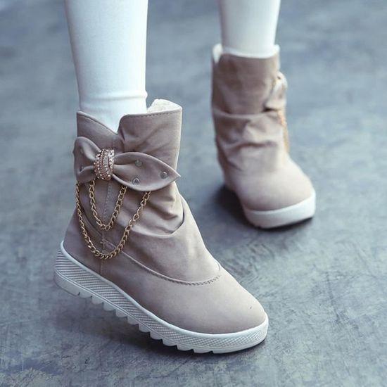 Bottes d'hiver pour femmes Casual Bow Tie neige au genou bottes Martin neige Tie @KH  Kaki - Achat / Vente botte 2b030b