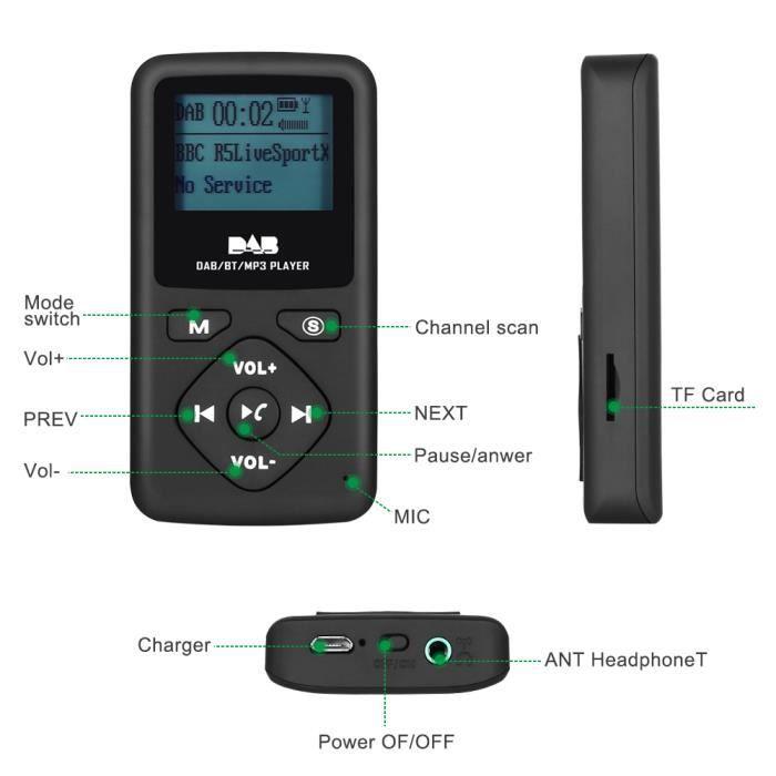 Dab-p7 Radio Numérique Portable Pocket-dab Lecteur Mp3 Bluetooth Remarque: Uniquement Publié En Europe - Australie